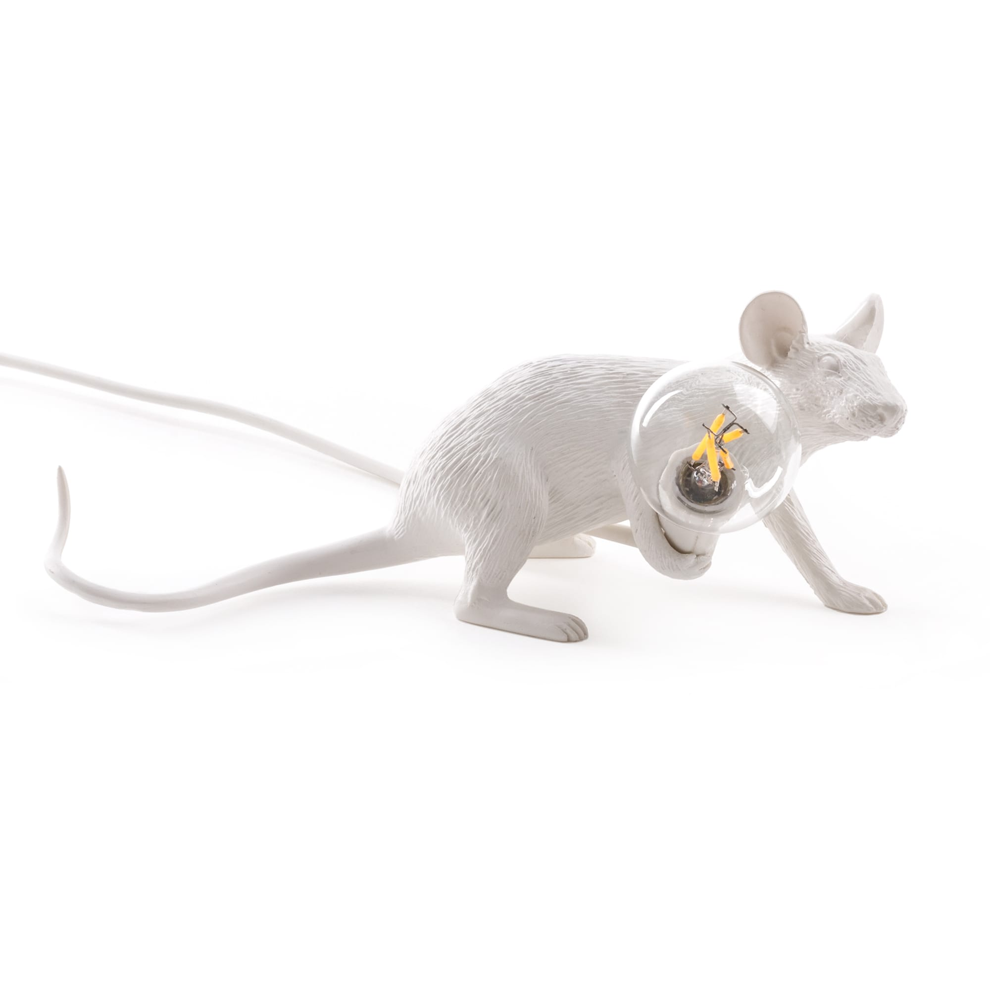 White Laying Mouse Lamp