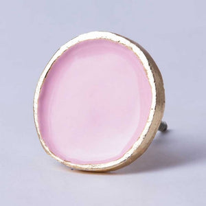 Pale Pink Enamel & Brass Wall Hook