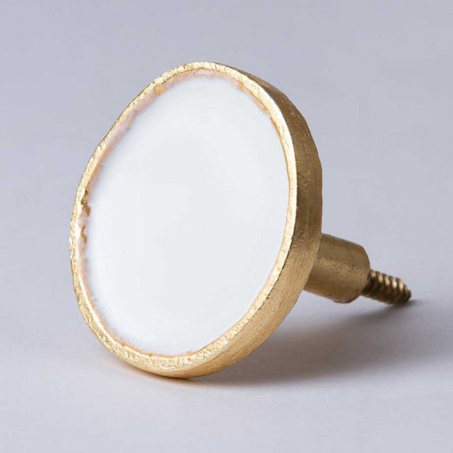 White Enamel & Brass Wall Hook