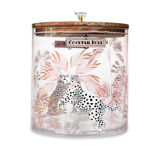 Cheetah Glass Ice Bucket
