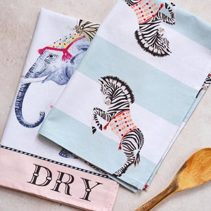 Elephant & Zebra Tea Towels, Set Of 2