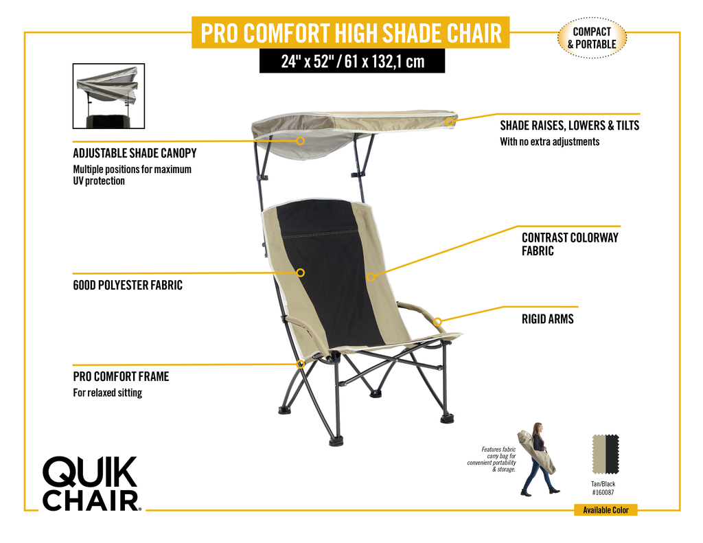 Pro Comfort High Back Shade Folding Chair