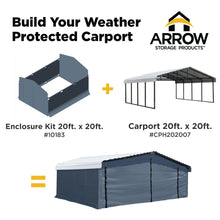 Load image into Gallery viewer, Arrow Carport 20 x 20 Enclosure Kit Carport Arrow