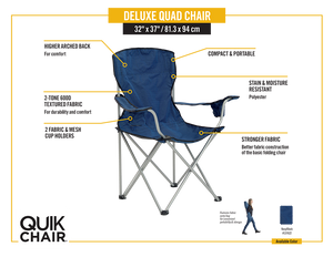 Quik Shade Deluxe Folding Chair - Navy/Black