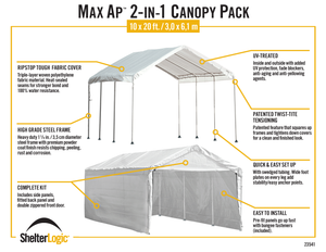 MaxAP Gazebo Canopy 2-in-1 Enclosure Kit 10 x 20 ft.