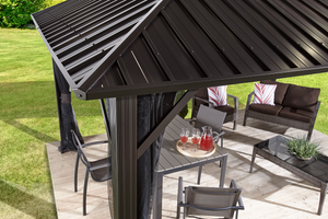 Sojag Genova Hard Top Gazebo with Steel Roof plus Mosquito Netting