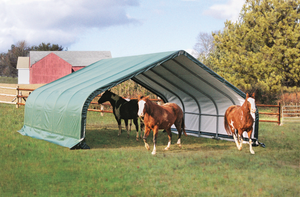 ShelterLogic 22x20x10 Peak Style Run In/Hay Storage Shelter, Green Cover