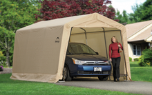 "Load image into Gallery viewer, ShelterLogic 10 ft. x 15 ft. x 8 ft. Compact Auto Shelter Instant Garage, 1-3/8"" 4-Rib Peak Style Frame, Sandstone Cover"