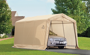 "ShelterLogic 10 ft. x 15 ft. x 8 ft. Compact Auto Shelter Instant Garage, 1-3/8"" 4-Rib Peak Style Frame, Sandstone Cover"