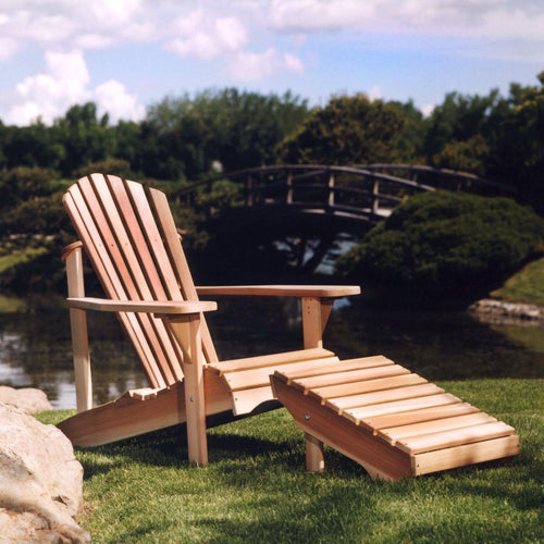 All Things Cedar Adirondack Chair and Ottoman Set