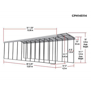 Arrow 14x51x14 DIY RV Carport Kit - Eggshell (CPH145114)