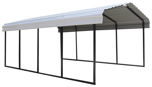 Arrow Steel Carport 12 x 20 x 7 ft. Galvanized Black/Eggshell