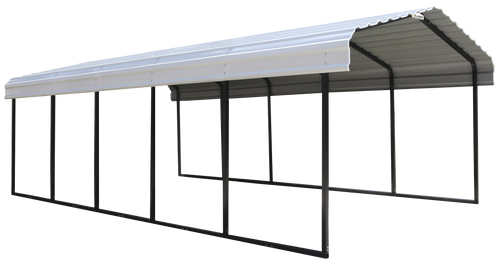 Arrow Steel Carport 12 x 24 x 7 ft. Galvanized Black/Eggshell