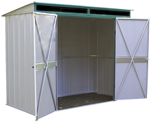 Load image into Gallery viewer, Euro-Lite 8 x 4 ft. Steel Storage Shed Pent Roof Green/Eggshell