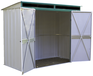 Euro-Lite 8 x 4 ft. Steel Storage Shed Pent Roof Green/Eggshell