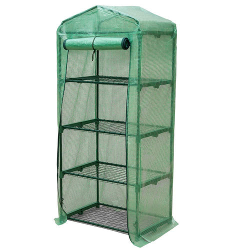 Riverstone Industries GENESIS 4 Tier Portable Rolling Greenhouse with Opaque Cover