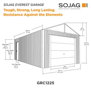 Sojag Everest Garage 12 x 25 ft. in Charcoal
