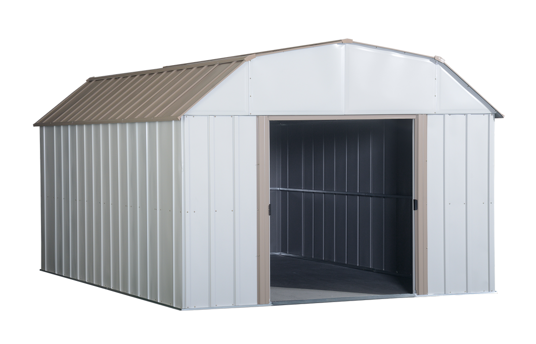 Arrow Lexington 10 x 14 ft. Steel Storage Shed Barn Style Taupe/Eggshell
