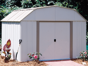 Arrow Sheds Lexington 10 x 8 ft. Steel Storage Shed Barn Style Taupe/Eggshell