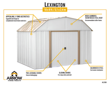 Load image into Gallery viewer, Arrow Sheds Lexington 10 x 8 ft. Steel Storage Shed Barn Style Taupe/Eggshell
