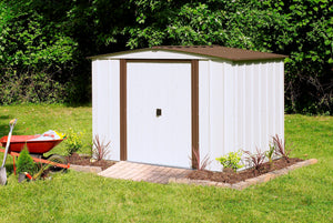 Arrow Newburgh 8 x 6 ft. Steel Storage Shed Coffee/Eggshell Sheds Arrow