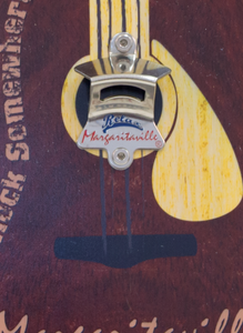 Margaritaville Bottle Opener Sign with Magnetic Cap Catcher - Guitar