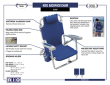 Load image into Gallery viewer, RIO Kids Backpack Chair