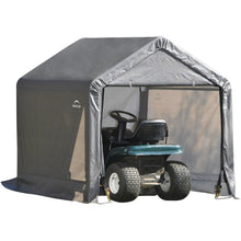 "Load image into Gallery viewer, ShelterLogic 6x6x6' Peak Style Storage Shed, 1-3/8"" Frame, Grey Cover"