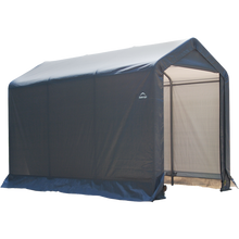 "Load image into Gallery viewer, ShelterLogic 6×10×6'6"" Peak Style Storage Shed, 1-3/8"" Frame, Grey Cover"