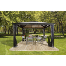 Load image into Gallery viewer, Sojag Verona Aluminum Gazebo 10 ft. x 12 ft. in Dark Gray with 2-Track System, UV-Protected Roof, and Mosquito Netting