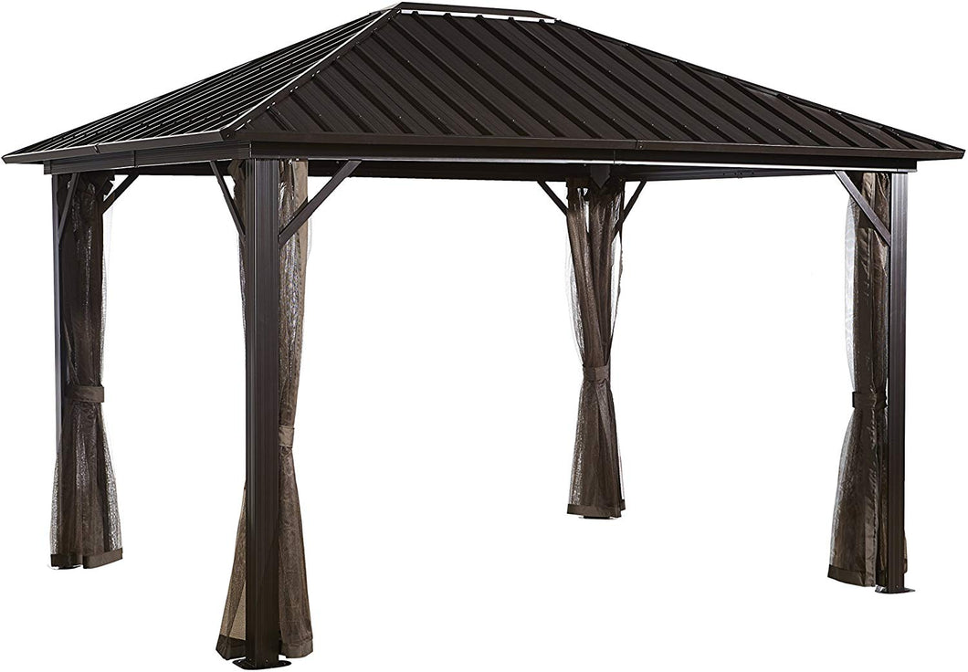 Sojag 12' x 16' Genova II Double-Roof Aluminum Gazebo 4-Season Outdoor Shelter with Galvanized Steel Roof Panels and Mosquito Netting