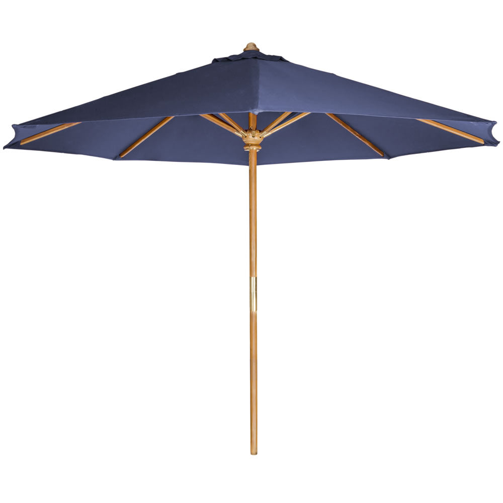 10-ft Teak Market Umbrella with Blue Canopy