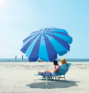 Margaritaville 7 ft. Umbrella with Integrated Sand Anchor - Blue Stripes