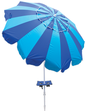 Load image into Gallery viewer, Margaritaville 7 ft. Umbrella with Integrated Sand Anchor - Blue Stripes