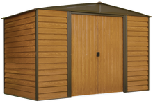 Load image into Gallery viewer, Woodridge 10 x 6 ft. Steel Storage Shed Coffee/Woodgrain