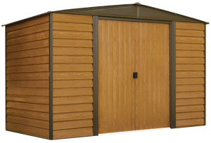 Woodridge 10 x 6 ft. Steel Storage Shed Coffee/Woodgrain