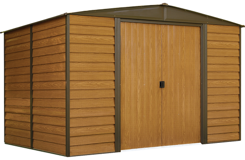 Woodridge 10 x 8 ft. Steel Storage Shed Coffee/Woodgrain