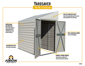 Arrow Yardsaver 4 x 7 ft. Steel Storage Shed Pent Roof Eggshell