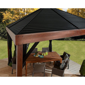Sojag™ 12 x 12 ft. Valencia Wood Finish Gazebo with Mosquito Netting
