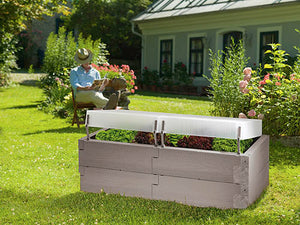 Exaco Grey Timber Raised Garden Bed with Cover