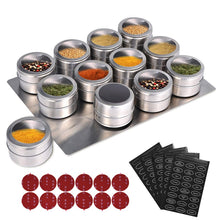 Load image into Gallery viewer, LMETJMA Magnetic Spice Jars With Wall Mounted Rack Stainless Steel Spice Tins Spice Seasoning Containers With Spice Label KC0305