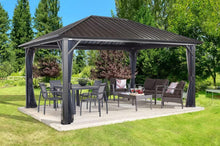 Load image into Gallery viewer, Sojag Genova Hard Top Gazebo with Steel Roof plus Mosquito Netting