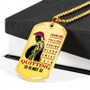 Warrior - Spartan - Quitting Is Not - Military Ball Chain - Luxury 18K GOLD Dog Tag