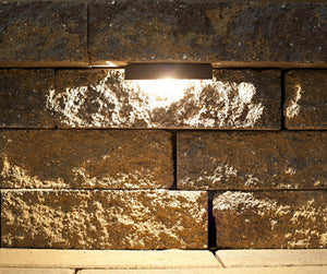 LED Retaining Wall light on Belgard Celtik Wall - Nox Lighting