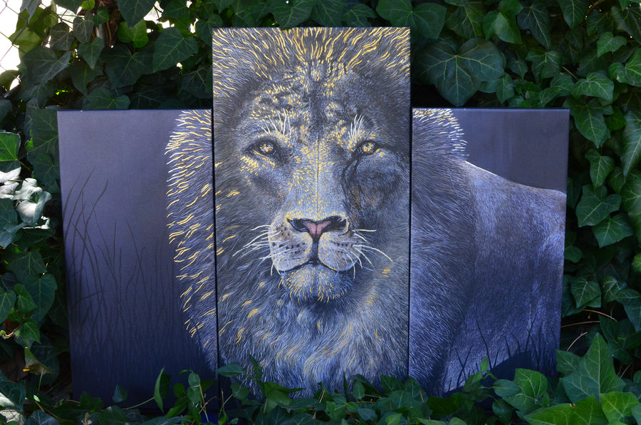 "This is a fine 3 panel canvas print of La Mirada is embellished with REAL 45 karat gold in order to deliver an eye popping flare to my favorite animal portrait. I absolutely love what the gold does to the depth of this piece of art.   Canvas sizes, left to right, 12""x24""  15""x30""  12""x24"