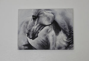 "18""x 24""   Modern art with a personalized take on realism. I absolutely loved producing this animal portrait. A beautiful print of one of my favorite pieces of contemporary realism, printed on canvas. I have modified this canvas print with gold and silver leaf embellishments that give this work of modern art a glowing flare."