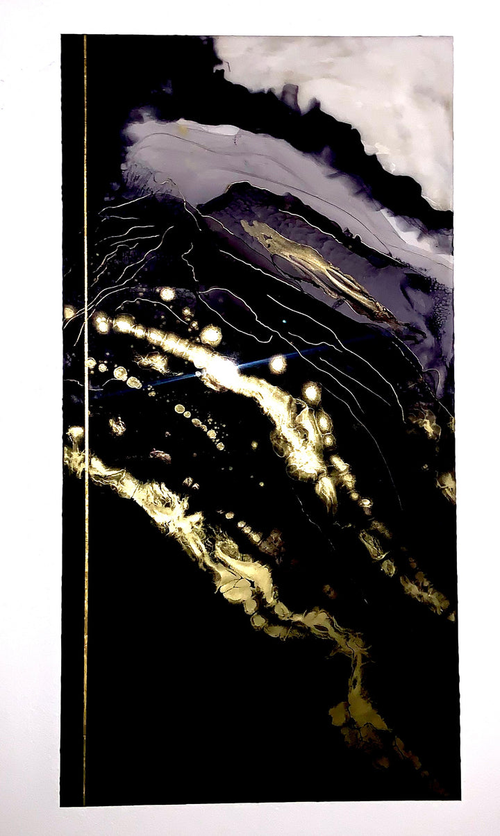 "SOLD  36""x48"" (91.5cm x 122 cm)  Layered pure 24k gold, ink, mounted on metal.     Modern art with abstract inspiration and a personal flare. Majesty is a contemporary, bold, and stunning work of abstract art."