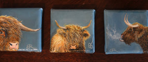 "Three 3""x3"" highland cows with a resin coating.  One-of-a-kind, no prints or replications will ever been made. I had a lot of fun crafting these unique animal portraits!   $275 for all 3 or $100 each.  Email brhoadsart@gmail.com to order individually."