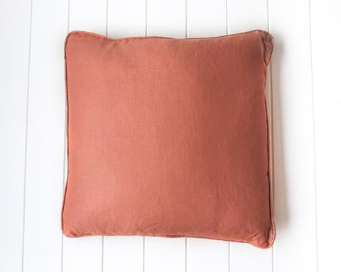Linen Feather Cushion - Rust