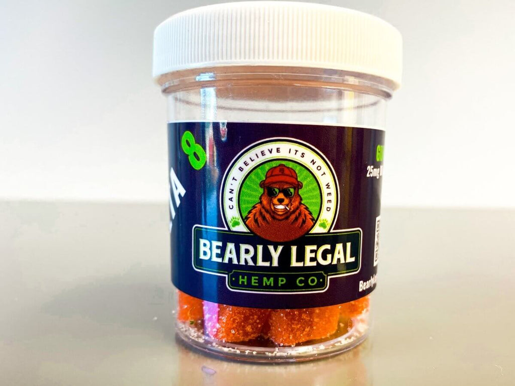 Bearly Legal Hemp Delta 8 THC 25mg Gummies (300mg D8) - 12 pack - Strawberry NEW